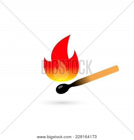 Burning Match Color Icon On White Background. Vector Illustration.