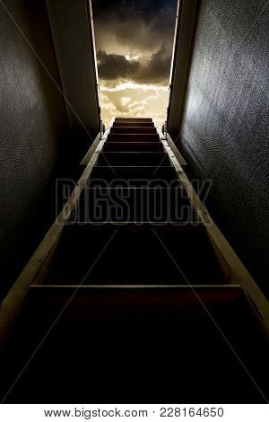 Staircase In A Hallway Going Straight To Heaven