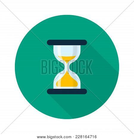 Hourglass Icon Flat Design Long Shadow. Vector Sand Clock Isolated Symbol.
