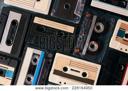 Vintage Cassette Tape Background, Top View. Retro Audio Cassettes Collection, Close-up