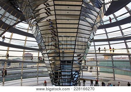 Berlin, Germany - May 29, 2014: Modern Interior Architecture Of Reichstag Dome