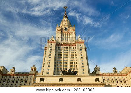 Main Building Of Moscow State University, Also Known As Mgu (msu). Moscow, Russia.