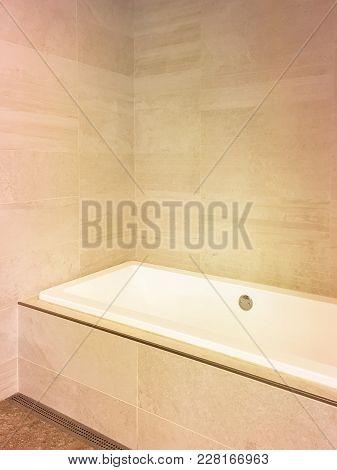 Renovated Bathroom With Ceramic Tile Walls. Contemporary Design.