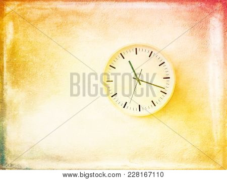 Modern Round Clock On Bright And Sunny Painted Wall. Artistic Contemporary Home Decor.