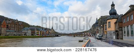 Cityscape Of Dinant, Belgium On River Meuse With Collegiate Church Of Notre-dame And Citadel