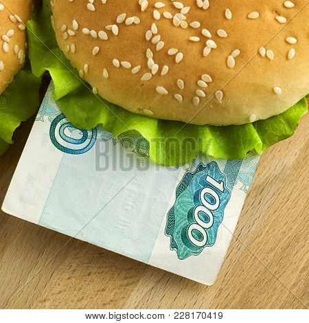 Sandwich With One Thousand Russian Ruble Bill. Business Concept