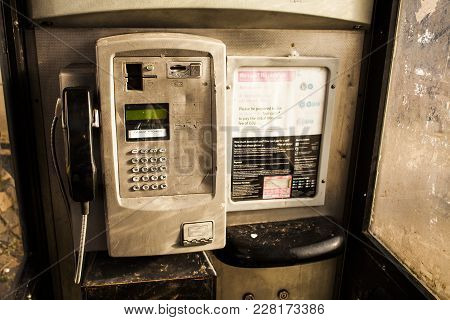 Inside Of One Public Phone Box In Uk. Red Telephone Box. Old Phone. Old Technology.