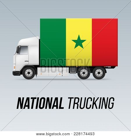 Symbol Of National Delivery Truck With Flag Of Senegal. National Trucking Icon And Senegalese Flag