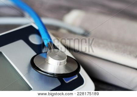 Sphygmomanometer And Stethoscope Kit Used To Measure Blood Pressure