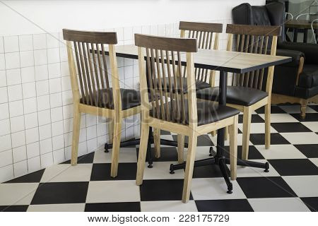 Furniture Set In Hipster Cafe, Stock Photo