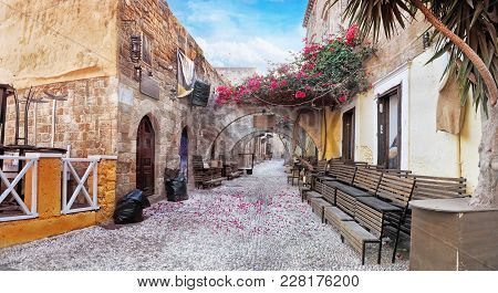 Old Town Street In Early Morning. Rhodes Island, Greece