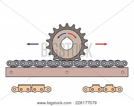 Sprocket Wheel And Chain Rack With Arrows Show Direction Of Motion