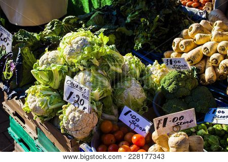 Vegetables And Fruit Market With Various Colorful Fresh Fruits And Vegetables. Green, Colorful, Fres