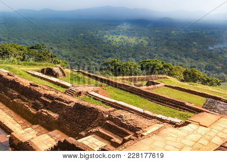 Ruins Of The Fortress And A View On The Top Of The Mountain Sigiriya, Sri Lanka