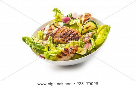 Chicken Breast. Grill Chicken Breast With Lettuce Salad Zucchini And Radish Isolated On White