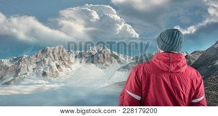 Hiker Admire Mountain Scenery Winter. The Conceptual Image