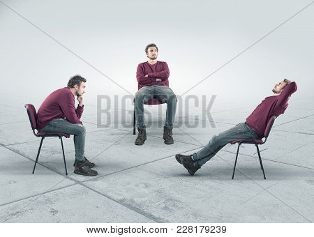 The Conceptual Image With A Thoughtful Man In Three Different Positions Sitting On Chair. The Concep