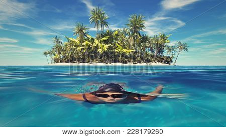 Woman Swimming Underwater In The Ocean At A Tropical Island.
