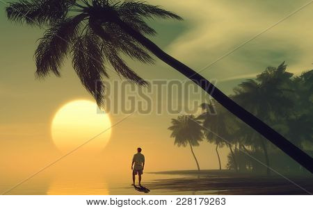 Man Looking At The Sunset On Tropical Island