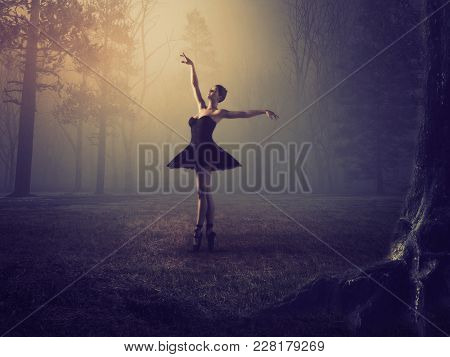 Ballerina With Tutu In Forest. This Is A 3d Render Illustration