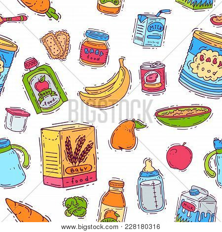 Baby Food Vector Child Healthy Nutrition Vegetable Mashed Puree In Jar And Fresh Juice With Fruits B