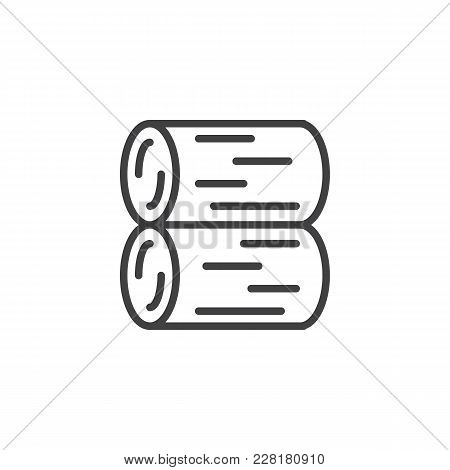 Stack Of Logs Outline Icon. Linear Style Sign For Mobile Concept And Web Design. Logs Of Fire Wood S