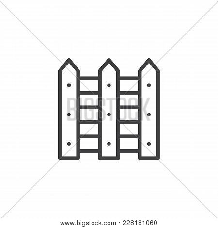 Wood Fence Outline Icon. Linear Style Sign For Mobile Concept And Web Design. Picket Fence Simple Li