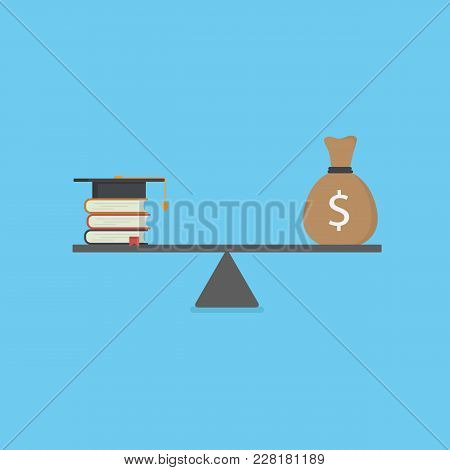 Education Cost Illustration. Stack Of Book With Mortarboard And Money On Scales
