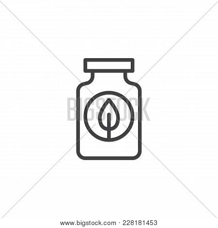 Fertilizer Bottle Outline Icon. Linear Style Sign For Mobile Concept And Web Design. Jar With Leaf S