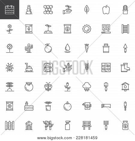 Gardening And Farming Outline Icons Set. Linear Style Symbols Collection, Line Signs Pack. Vector Gr