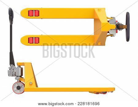 Pallet Jack, Side And Top View Isolated On White Background - 3d Illustration