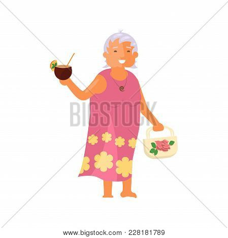 Healthy Active Lifestyle Retiree For Grandparents. Old Woman Character With Cocktail.  Voyage For Se