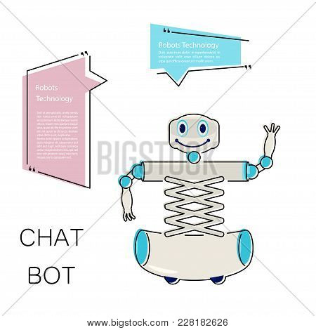 Cartoon Cute Chat Bot In Flat Design. Friendly Android Robot Character Isolated On White Background.