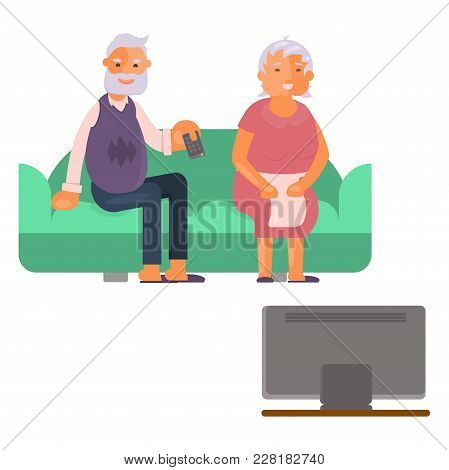 Healthy Active Lifestyle Retiree For Grandparents. Elderly People Characters Are Watching Tv On The