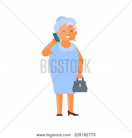 Healthy Active Lifestyle Retiree For Grandparents. Old Woman Character Speak By Phone.  Grandmother