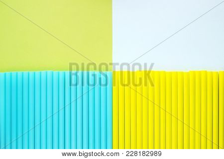 Abstract Background Of Colorful Cocktail Tubes. Close-up Top View Image. Colored Plastic Drinking St