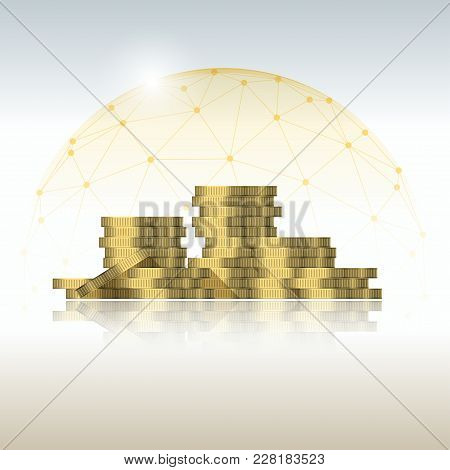 Financial Management Concept With Coin Stacks Protected In Polygonal Dome Shield , Vector , Illustra