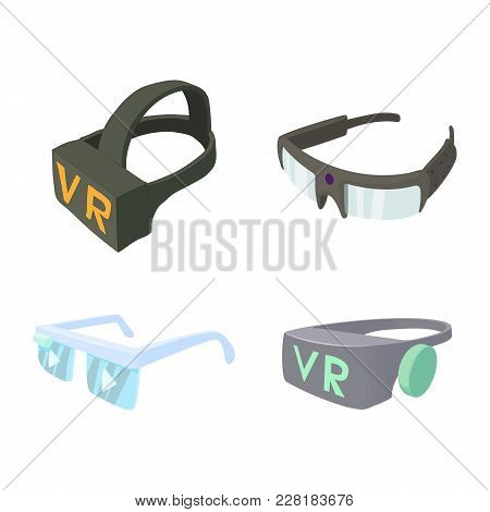 Vr Glasses Icon Set. Cartoon Set Of Vr Glasses Vector Icons For Web Design Isolated On White Backgro