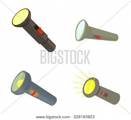 Pocket Light Icon Set. Cartoon Set Of Pocket Light Vector Icons For Web Design Isolated On White Bac
