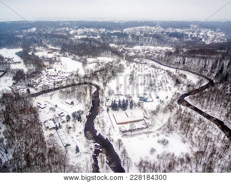 Vilnius, Lithuania: Aerial Top View Of Vilnele River And Belmontas Park In Beautiful Colors Of Winte