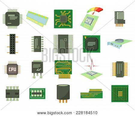 Micro Chip Icon Set. Cartoon Set Of Micro Chip Vector Icons For Web Design Isolated On White Backgro