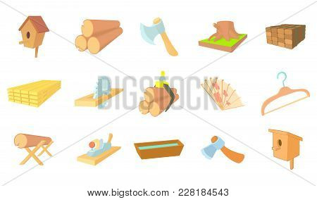 Wood Object Icon Set. Cartoon Set Of Wood Object Vector Icons For Web Design Isolated On White Backg