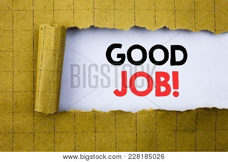 Good Job. Business Concept For Success Appreciation Written On White Paper On Yellow Folded Paper.