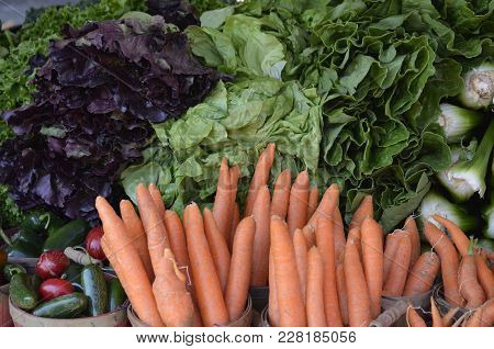 Carrots Displayed And For Sale At A Local Farmers Food Market