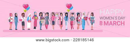 Happy Intenational Womens Day Horizontal Banner Group Of Diverse Girls Over Pink Background Vector I
