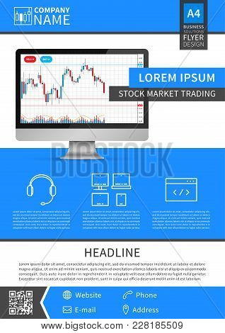 Trading Stock Market Flyer Vector Template. Forex Trade Promotion Leaflet Creative Concept.