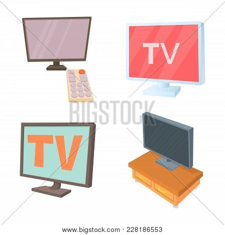 Tv Lcd Icon Set. Cartoon Set Of Tv Lcd Vector Icons For Web Design Isolated On White Background