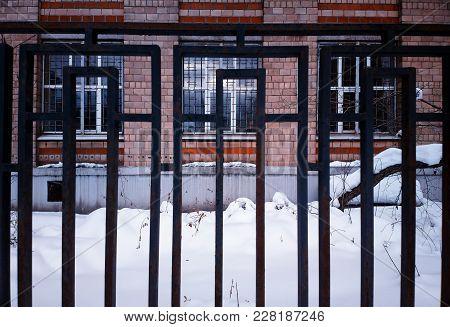 Vintage Caged City Building Background High Def