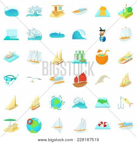 Saline Icons Set. Cartoon Set Of 36 Saline Vector Icons For Web Isolated On White Background