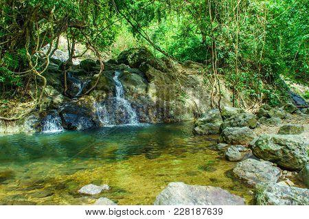 Beautify Of Medium Waterfall Around Stones And Forest At Khao Yai National Park - Nakhon Nayok Provi